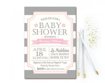 Gray & Pink Baby Shower Invitation - Gray and White Stripe Baby Shower Invite - Girl Baby Shower PRINTABLE