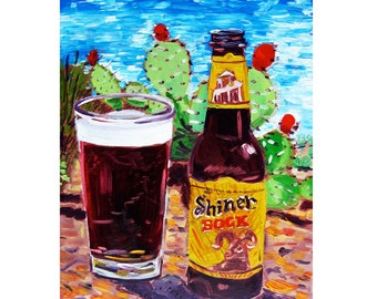 Shiner Bock, Craft Beer Gift for Boyfriend, Texas Painting, Cactus Painting, Bar Beer Art, Dining Room Art, Anniversary Gift for Husband