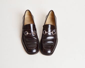 Vintage 90s Gucci Tom Ford Horsebit Loafers / 1990s Brown Leather Oxfords Shoes Men's 9.5