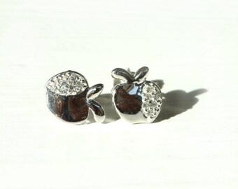 apple Shape Earrings, with White Sapphire, Sterling silver 925 stud earrings.