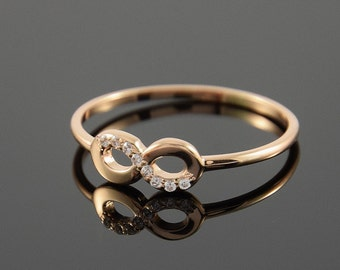 Minimalist ring, Promise ring for her, Infinity ring, Tiny gold ring, Small ring, Forever ring, Petite ring, Dainty ring, Delicate ring