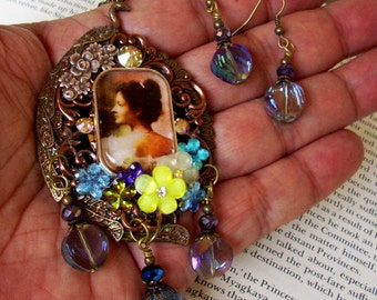 Jewelry Set (S514) Princess Kaiulani Brooch and Earrings, Royal Hawaiian Monarchy Tribute, Peacock, Crystal Dangles, Flowers, Brass