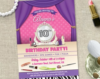 Makeover Spa Tween Birthday Party Invitation, Printable, Evite or Printed (US only) Invitations
