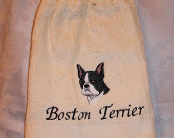 Boston Terrier dog (head) - Embroidered crochet topped hand towel (Free USA Shipping)