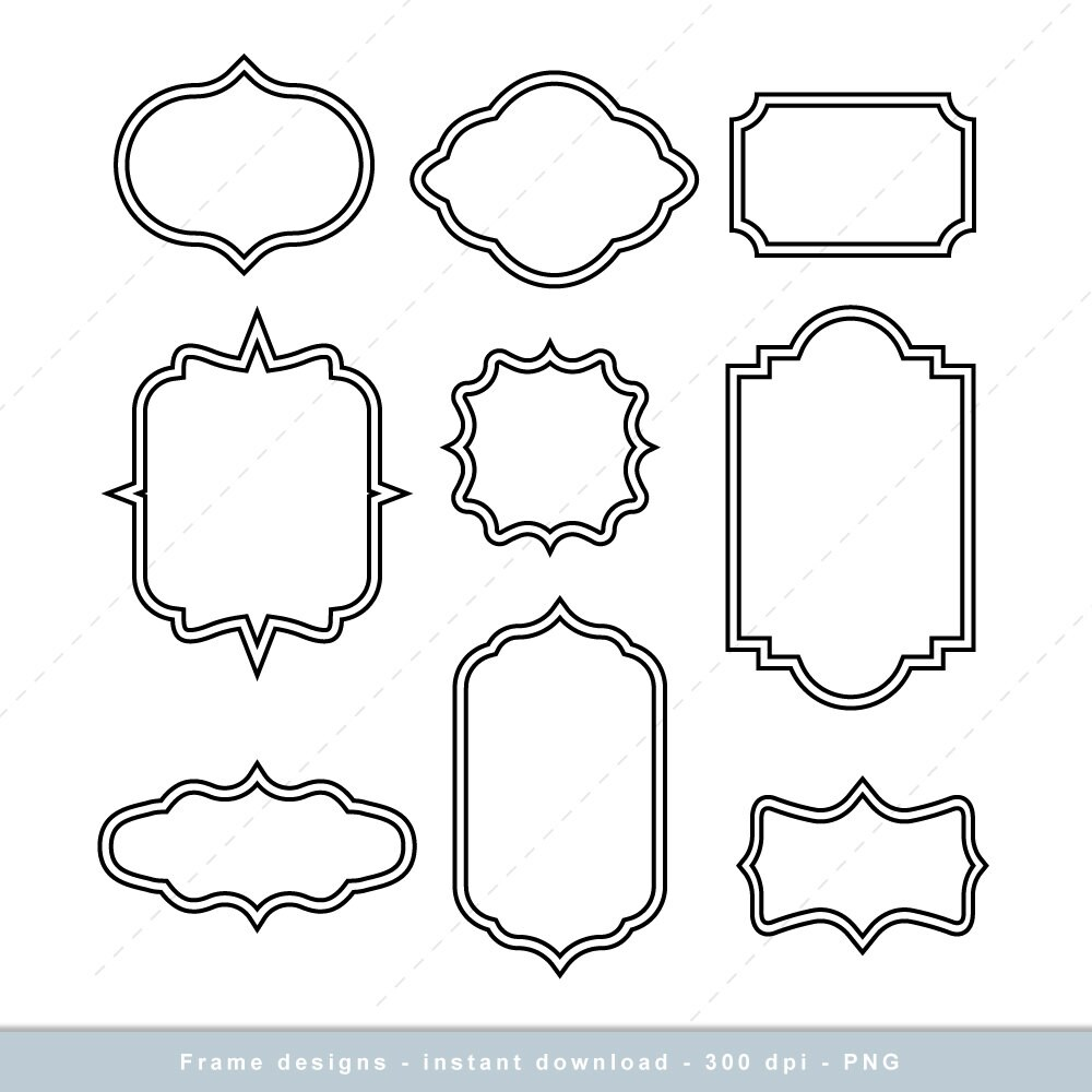 Frame Clip art, Simple Frame Digital clipart, Vintage Frames, cute ...