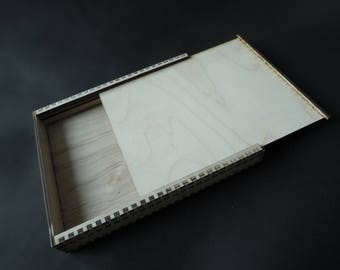 Wooden Box With Slid Cover for Crafts - Laser Cut