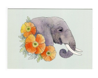 Elephant with Orange Poppies - 5x7 Mini Print
