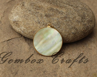 Natural Mother of Pearl 12mm Round Smooth 925 Sterling Silver Gold Plated Bezel Pendant
