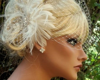 Wedding Fascinator, Bridal Veil Ivory Fascinator, Wedding Hair Clip, White Fascinator, Wedding Veil, Birdcage Bridal Veil, Wedding  Hair Set
