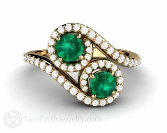 Emerald Ring Toi et Moi Emerald Engagement Ring Pave Diamonds Duo Ring Mothers Ring May Birthstone