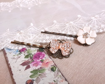 Set of 2 hair pins rhinestone white flower butterfly bobby hair pins Vintage inspired hair pins