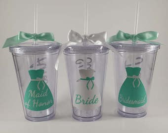 Personalized Bridal Tumbler Vinyl Decal - DIY - Stickers - Wedding, Bachelorette Party ** Vinyl Only, No Tumbler ** Fits 16oz Tumbler