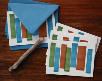 5 Blank Letterpress Notecards - Letterpress Stationery - Thank You Cards - Blank Cards - Green Blue Brown Geometric