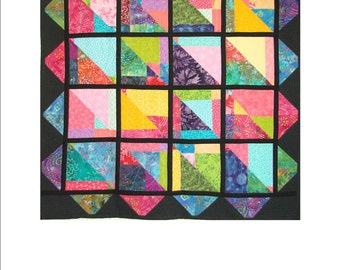 """CATHEDRAL WINDOW, 49 1/2"""" x 49 1/2"""" quilted wall hanging"""