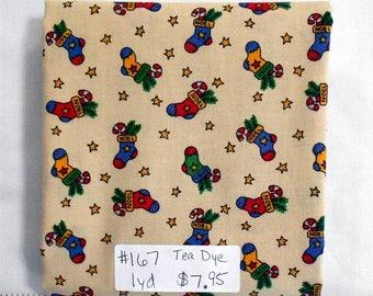 Fabric-1 yard piece-Christmas/X-mas/winter/holiday-Christmas Stockings on Tea Dye Fabric/yellow/green/red/blue/Noel/Stars/tree branch (#167)