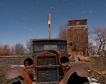 1931 Ford AA Truck, Rusty Old Ford, Vintage Ford Print, Ford AA Truck Photo, Night Sky, Starry Sky, Grain Elevator, Rusty Truck, Beer