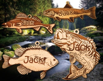Personalized Wooden Fish Christmas Ornament