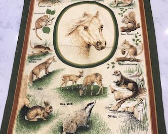 British Wildlife Vintage Tea Towel
