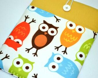 ipad mini 4 cover, Handmade iPad mini 3 Sleeve with Pocket, iPad Mini 4 Case , iPad Mini Retina Cover , iPad Mini 3 Case- OWLS