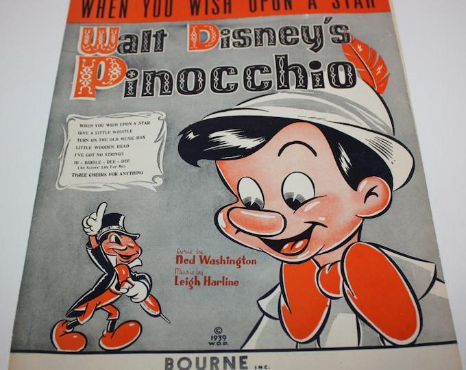 Walt Disney's Pinocchio When You Wish Upon A Star Sheet Music 1939 Irving Berlin