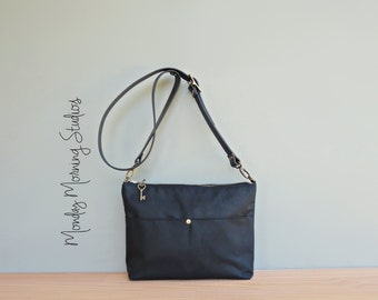 Black Canvas Purse with Custom Length Leather Strap, Boho Waxed Canvas Shoulder Bag, Plus Size Cross Body Bag, Everyday Purse, Made in USA
