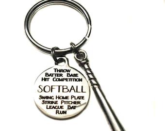Softball Graffiti Charm, Bat Charm, Keychain, Sports Bag Charm, Sports Bag Charm, Ladies Softball Player, Baseball Mom Gift