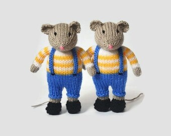 Twin baby gift handmade knitted mouse rat stuffed animal mouse doll kids gift stuffed mouse plush toy mouse baby shower gift