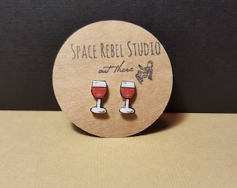 Wine Studs ~ Wine Glass Earrings ~ Wine Lover Gift ~ Red Wine ~ Wine Not ~ Bartender ~