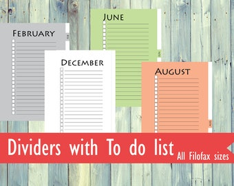 Printable Monthly dividers for Filofax. Filofax planner dividers. Filofax personal, Pocket, A5, A4 size dividers. Black & white, color, gray