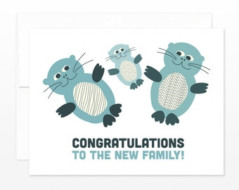Cute Otter New Baby Card, New Family Greeting Card, Baby Announcement Card, Baby Shower Card, Congratulations Card, New Mom Card, New Dad