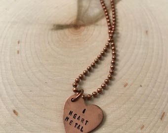 I Heart Metal Copper Necklace