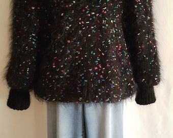 Vintage 80's Black Mohair Chunky Knit Size Medium Large