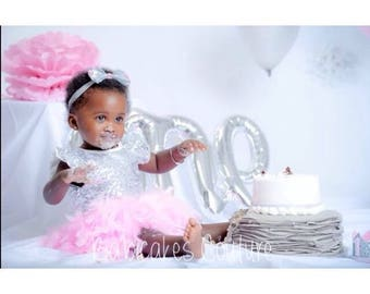 Babys 1st Easter, Full Feather Tutu, Baby Silver Sequin Bodysuit, Silver Headband, Pink and Silver 1st Birthday, 1st Birthday Girl Outfit