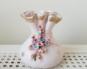 Vintage Lefton China Vase Pale Pink Porcelain With Pink Blue Flowers & Metallic Gold Accents, Ruffled Edge