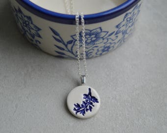 Delft blue necklace, ceramic pendant necklace, royal blue jewelry, small fern pendant, ceramic jewellery, gift for her