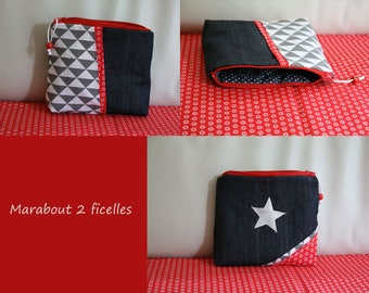 """Waterproof Kit """"red star"""" _ NOVELTY denim, cotton and faux leather"""