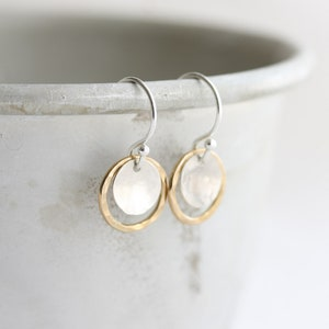 Circle earrings, Hammered disc & circle earrings in silver and gold, Mixed metal earrings, Small dangle drop earrings, Jewelry gift for her