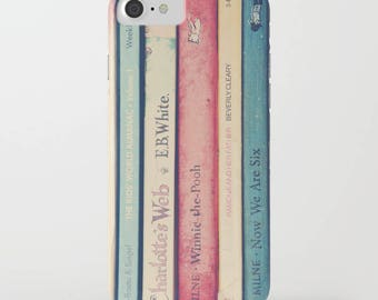 vintage books photography in pink blue- plastic iphone case - Childhood Memories iphone Case- Samsung phone case- book worms- back to school