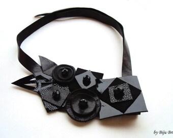 Geometric Leather Bib Necklace, Black Statement Necklace, Leather Squares, Leather Collar, Asymmetric Leather Jewelry, Head Piece, Choker