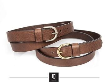 Handmade leather belt, 25mm wide high quality full grain brown leather belt