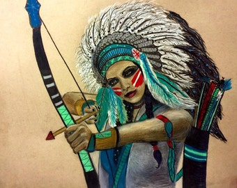 Native Warrior High Quality Print, Original Drawing *Print*, Wall Art Decor