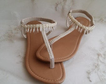 Ivory Wedding Sandals with Drop Pearls Design Ivory Wedding Shoes Destination Wedding Sandals Beach Wedding Sandals Vegan Sandals