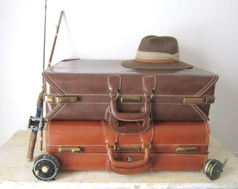Vintage Luggage Suitcase  Old Luggage Large Leather Luggage Suitcase Travel Bag Brown Leather Suitcase 1940 Air Ace Saddle  Brown Luggage