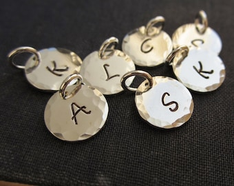 Personalized initial charm, hand stamped custom sterling silver initial, letter charm, hammered sterling silver charm