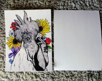 Rooster in the Flowers Note Card/Post Card - Original Art- Note- Rooster Art- Ink Media - Art - Drawing - illustration