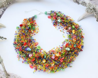 Colorful necklace, Rainbow jewelry, Multicolored necklace, Bridal bright jewelry, Mother in law gift, Statement jewelry, Gorgeous necklace