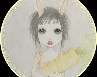 Original artwork Bunny lowbrow fantasy art
