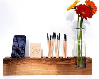 Office organizer, desk storage, pencil holder, card holder, phone holder, desk accessories, wooden desk organizer, nordic design