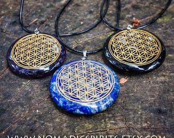 Lapis lazuli  Flower of Life stone pendant with adjustable black cord