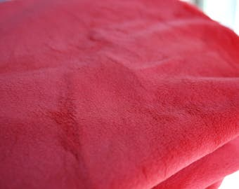 Red Minky Fabric - Uncut